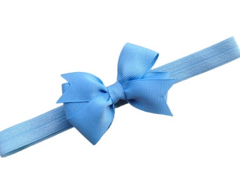 Light blue headband with 3 inch bow - light blue baby headband, light blue newborn headband