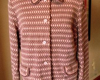 Vintage 1960s Mod Glaser Jersey Wool Jacket - L
