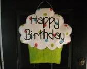 Cupcake Burlap Door Decoration- Medium