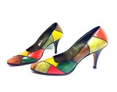 SALE 20 - 80s Leather Colorblock Pumps 9 - Multi Colored Bohemian High Heels 9