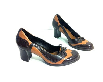 Leather High Heel Spectators 7 - Two Toned Wingtip Oxford Pumps with Bow 7