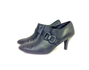 Leather High Heel Ankle Boots 8 - Slip On Black Booties 8 - Stiletto Pumps 8