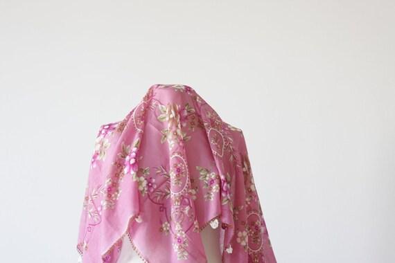 Turkish Scarf, Belly dance scarf, Cotton, Dusty Rose, Floral, Sunflower, Oya, Yemeni, Neckwarmer, Floral, Never Used