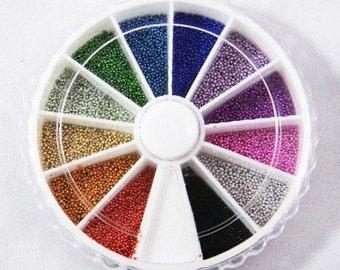 Microbeads Nail Wheel, Micro Marbles, Glass Microbeads for Caviar Nails