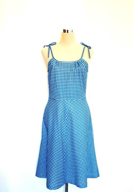 Vintage Gingham Dress. 70's Polyester Dress. Blue and White check. Strappy Dress. Vintage Summer Dress / 70's Sundress.