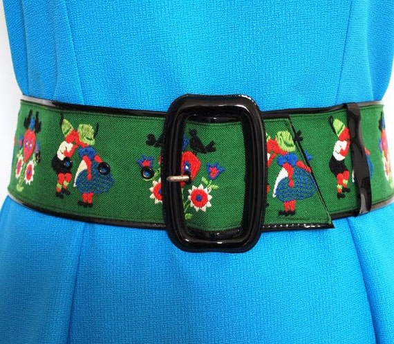 Kitsch 1960's belt. VINTAGE. Hand embroidered belt. Folk belt. Austrian design. Retro kitsch.
