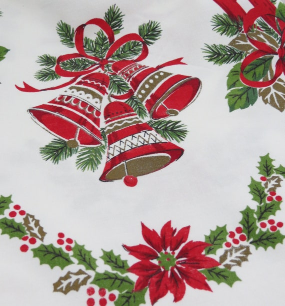Vintage Christmas Tablecloth Round Bells Poinsettias