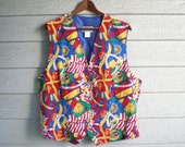 vintage 1980s Pendleton nautical print vest. retro clothing.