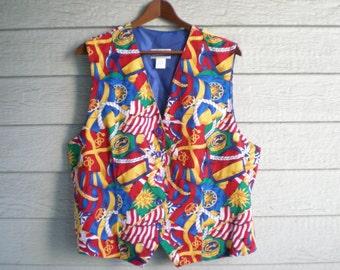 vintage 1980s Pendleton nautical print vest. retro clothing.