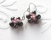 Sterling Silver Tiny Flower Earrings Peacock Pearl Earrings Wire Wrapped
