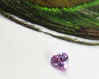 Lavender Ice 5 mm Heart - Lab-Created Faceted Gemstone - Light Purple CZ