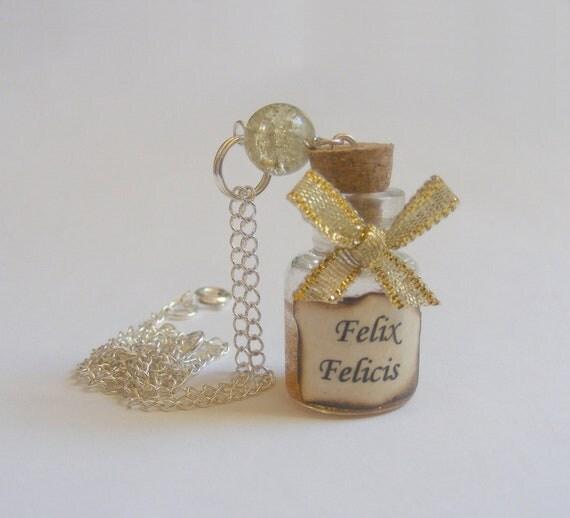 Felix Felicis Potion Miniature Bottle Necklace Pendant - Miniature Food Jewelry,Handmade Jewelry,Mini Food Jewelry