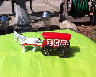 Antique Horse and Ice Wagon Cast Iron