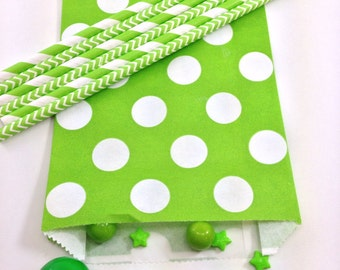 12- 5X7.5 Green and White Polka Dot Bags, Treat Bags, Favors, Candy Buffet