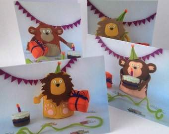 Happy Birthday Cards 4 Pack Monkey Lion animals zoo fun celebration party