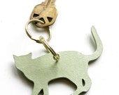 mint green leather cat keychain