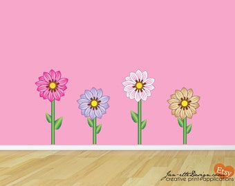 Girls Wall Decals, Colorful Flowers Fabric Wall Decal Set,Flower Stickers, Girls Wall Decor