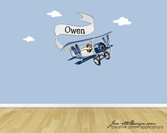 Personalized Airplane Wall Decal,Removable and Repositionable Fabric Wall Decal,Airplane and Banner Wall Sticker