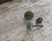 Sterling Silver Earrings Oxidized Dark Brushed Small Tiny Round disc circles everyday studs