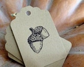 Acorn Stamped. Kraft Paper Gift Tags 25. Perfect for: Fall Weddings, Favor Bags, Placecards, Harvest Dinner, Thanksgiving Table
