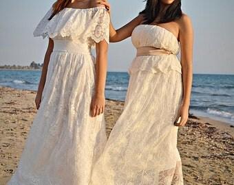 Boho Wedding Dress, Ivory Wedding Dress, Lace Wedding Dress, Vintage Wedding, Bohemian Gown,Gipsy Wedding Dress, Handmade, SuzannaMDesigns