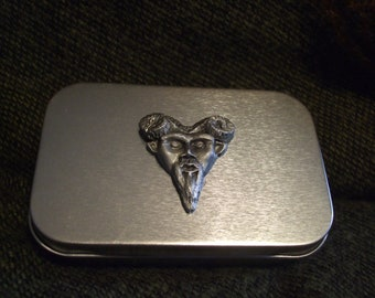 Green man horned god metal pocket stash tin with hand sculpted pewter. treasure box home roller cigarette tin pocket size