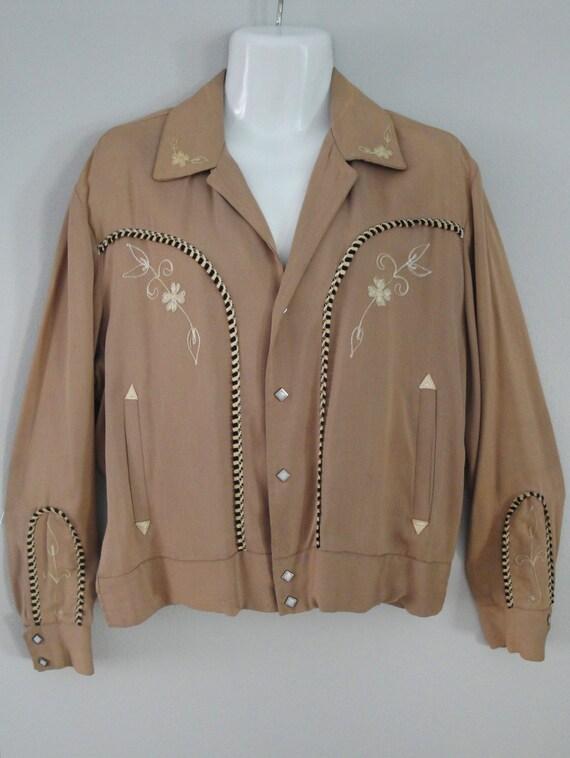RESERVED--- 1950s 50s Western Jacket Mens Tan Gabardine H Bar C Rockabilly VLV Size Large