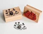 """Rubber Stamp with an Owl, saying """"Have a Nice Day"""""""