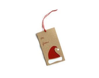 10 Christmas Gift Tags: laser cut Santa Hat Tags