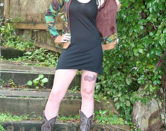 Merino Strappy tie short dress - LBD - Made in New Zealand - all natural eco-friendly fabrics