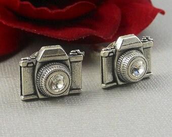 Sale Camera Cufflinks Swarovski Lens, Vintage Inspired Steampunk, Men Gift,  Ox Silver Cuff links