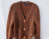 Womens rust cardigan fuzzy brown cropped sweater / Mohair acrylic blend / Long sleeve / Bulky knit / autumn fall colors grandpa sweater
