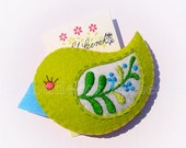 Hand embroidered lime hair clip, felt bird barette, hair accessorie for girls, green dream