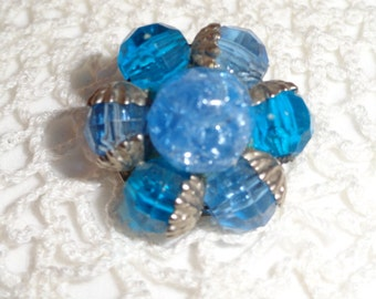 Vintage 40s or 50s Bright Blue with Turquoise and Silver Clip Earrings