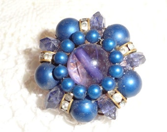 Vintage 40s or 50s Midnight Blue with Teal, Lavender, Purple and Rhinestone Clip Earrings