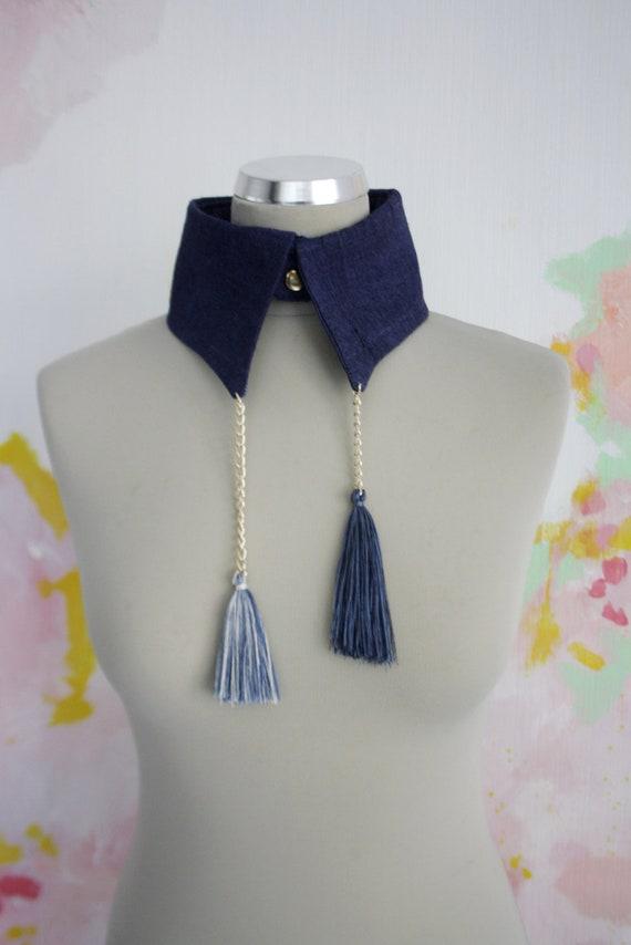 50% off D A R K / dark blue & white collar - back to school sale