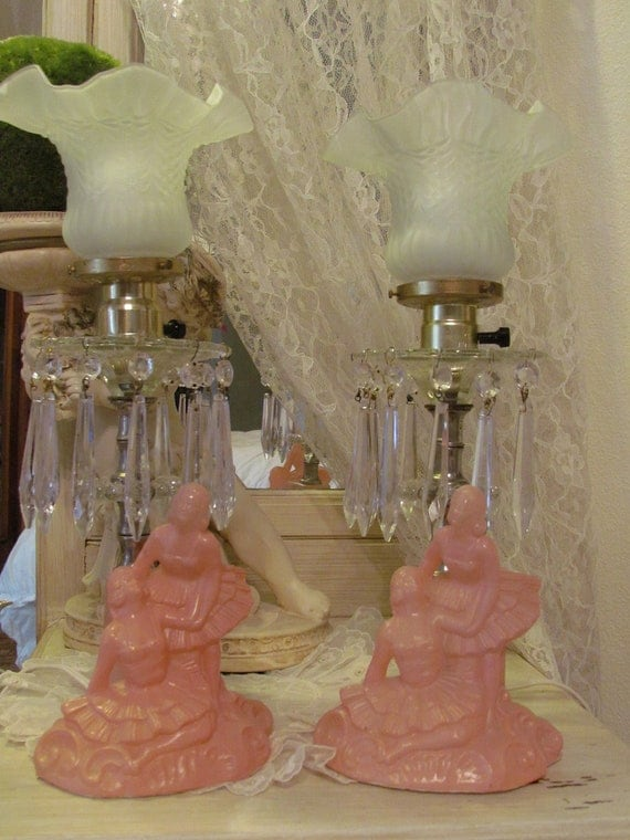 Vintage Ballerina Boudoir Lamps With Crystal Prisms Pink Pair