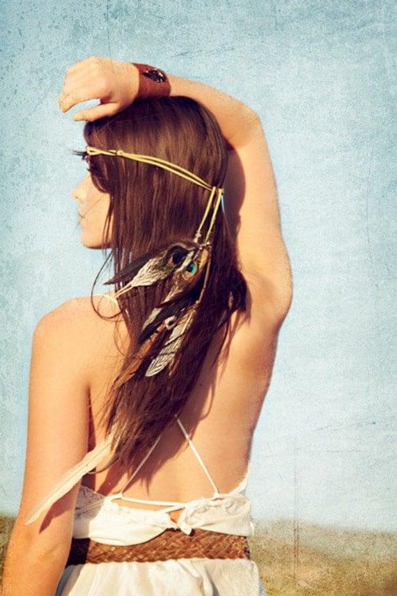 juniper stone. bohemian feather headband // coachella music festival, elvin,  tribal, burning man, feathers, headdress, hatband, summer