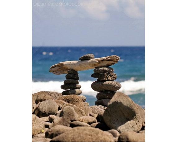 stone cairn photograph beach art, Hawaiian beach, coastal wall art beach house decor 'Hawaiian Landmark'