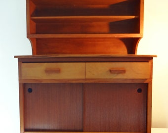 Mid century, large childs cupboard, pine toy kitchen cabinet, circa 1950s
