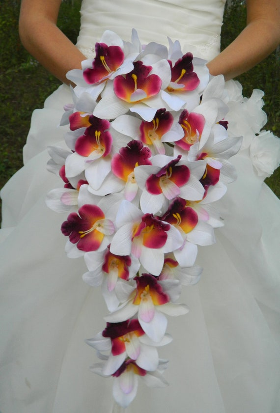 Orchid Bouquet Cascade Purple Plum Lavender White