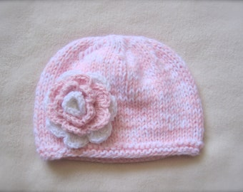 Girl's Pink and White Beanie. Newborn Beanies. Thick and Cozy Toddler Beanies. Pink Beanie for girls. White and Pink Beanies