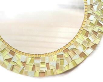 Gold Round Mosaic Mirror