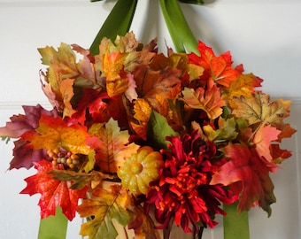Hanging Basket-Door Wreath-Yellow-Red-Orange-Flower Basket-Fall Wreath-Fall Wedding-Wreath Alternative-Centerpiece-Floral Arrangement