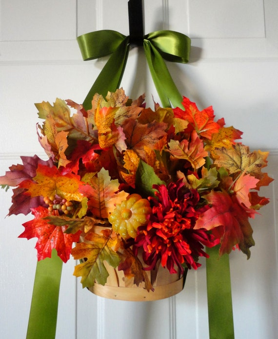 Silk Orange Fall Flowers: Items Similar To Hanging Basket-Door Wreath-Yellow-Red