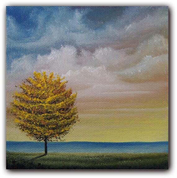 Original Yellow Tree Painting, Contemporary Art Oil Painting, Tree Art Landscape Painting, 5 x 5 x 1.5, Seaside