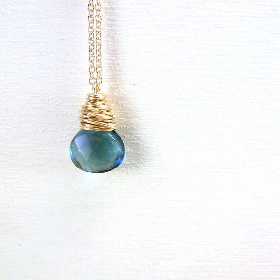 London Blue Topaz Pendant Necklace Wire Wrapped Gemstone Briolette Gold Filled Jewelry