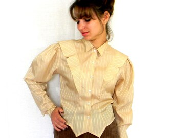 50s Tuxedo Blouse. Vintage Silky Blouse. Mad Men Fashion. Striped Beige Gold. Spring fashion. Pastel