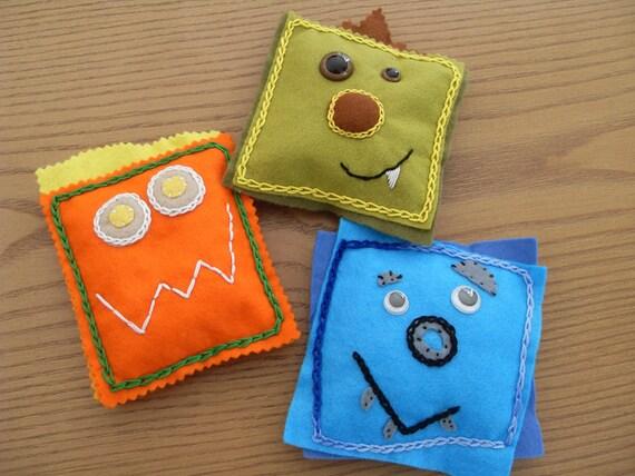 10 sale felt hand made monster bean bag by makestitchknit. Black Bedroom Furniture Sets. Home Design Ideas