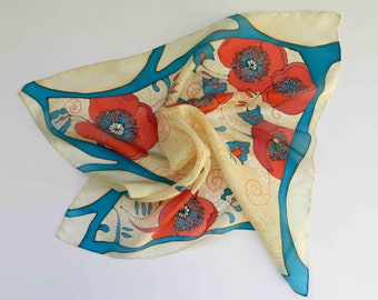 Red and blue , beige colors hand painted silk scarf.Special holiday gift for her. Made to order. Free worldwide shipping.